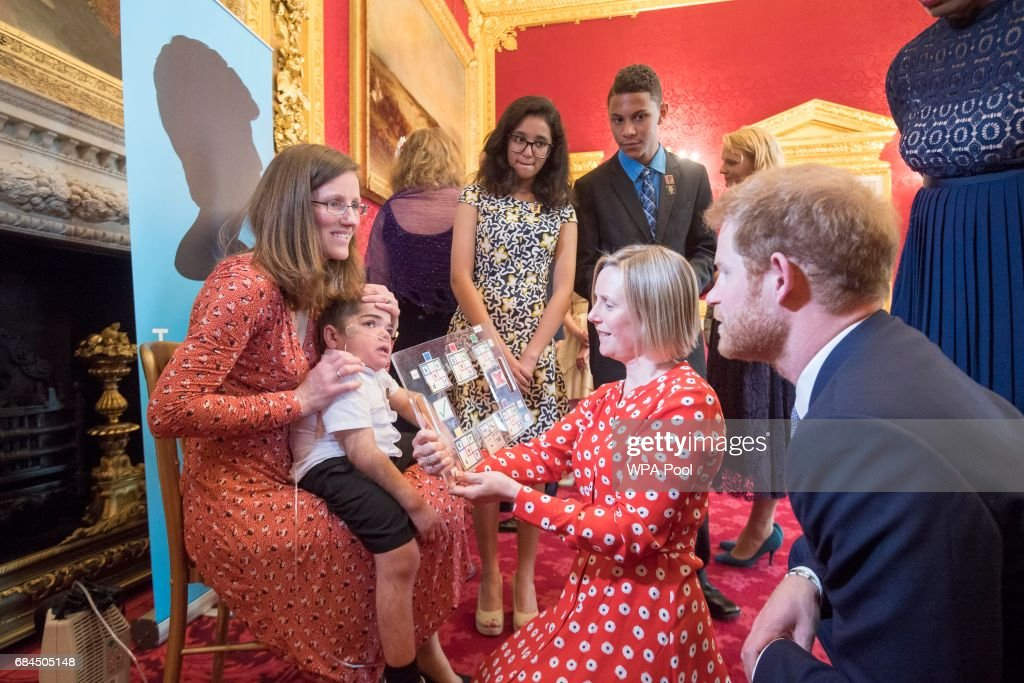 Prince Harry meets some of the winners at the Diana Award's at St James' Palace on May 18, 2017 in London, England.