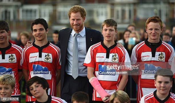 Prince Harry meets staff and players during a visit to Paignton Rugby Club on October 7 2015 in Paignton England Prince Harry is visiting the club in...
