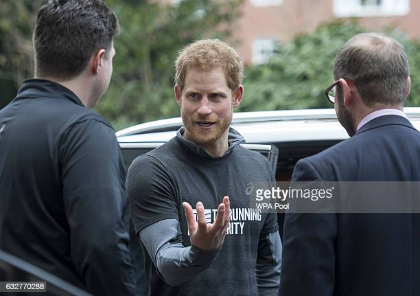 Prince Harry meets staff members of The Running Charity which is the UK's first runningorientated programme for homeless and vulnerable young people...