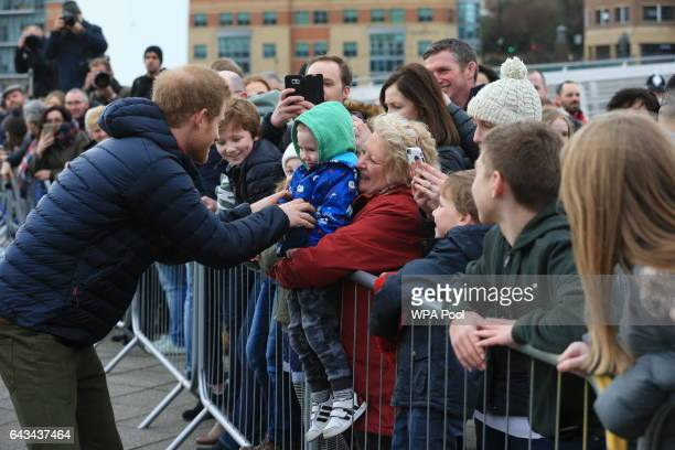 Prince Harry meets supporters at a training session for runners taking part in the 2017 Virgin Money London Marathon for Heads Together, the official...