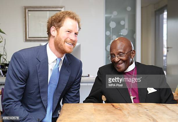 Prince Harry meets the Archbishop Emeritus Desmond Tutu at the offices of The Desmond Leah Tutu Legacy Foundation on the first day of his visit to...