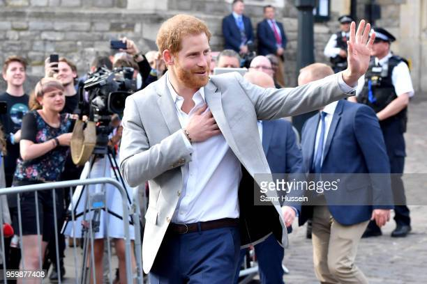 Prince Harry meets the public during a walkabout in Windsor on the eve of the wedding at Windsor Castle on May 18 2018 in Windsor England