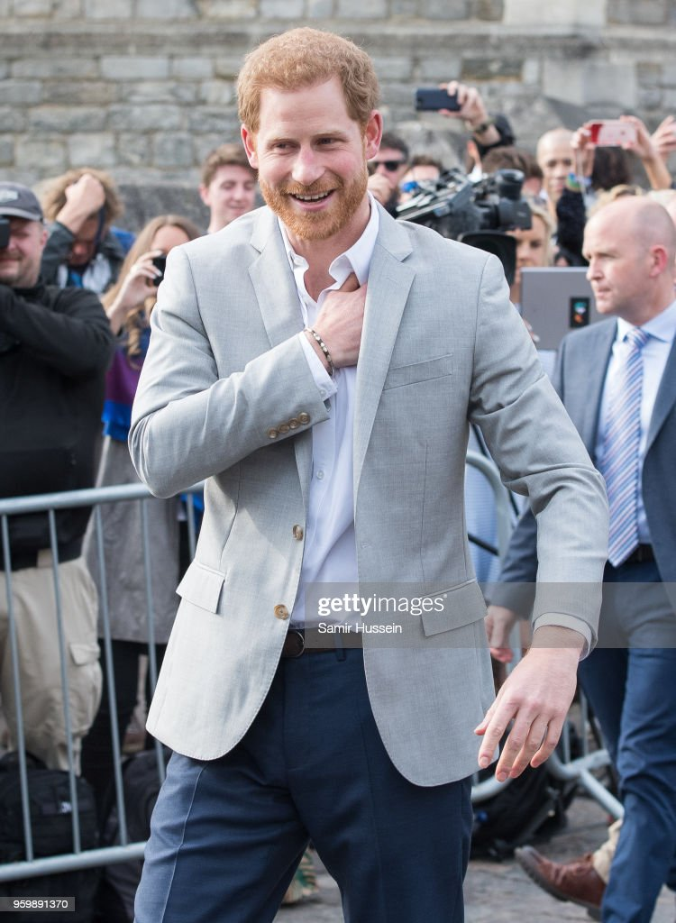 Prince Harry meets the public in Windsor on the eve of the wedding at Windsor Castle on May 18, 2018 in Windsor, England.