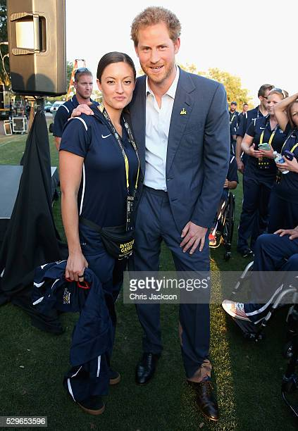 Prince Harry meets USA Invictus Team Member Elizabeth Marks ahead of the Opening Ceremony of the Invictus Games Orlando 2016 at ESPN Wide World of...