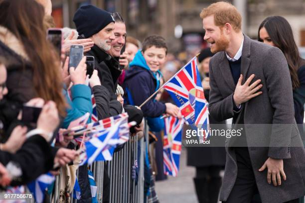Prince Harry meets well wishers during a walkabout on the esplanade at Edinburgh Castle on February 13 2018 in Edinburgh Scotland