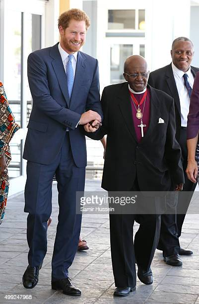 Prince Harry meets with Archbishop Desmond Tutu at the VA Waterfront during an official visit to Africa on November 30 2015 in Cape Town South Africa