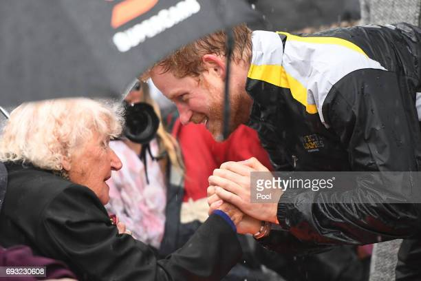 Prince Harry meets with Daphne Dunne at The Rocks on June 7 2017 in Sydney Australia Prince Harry is on a twoday visit to Sydney for the launch of...