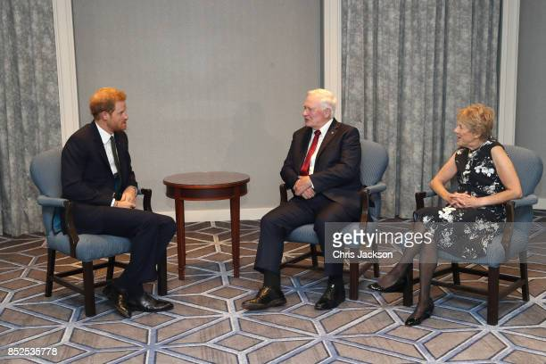 Prince Harry meets with Governor General of Canada David Johnston and wife Sharon Johnston ahead of the Invictus Games 2017 at the Fairmont Royal...