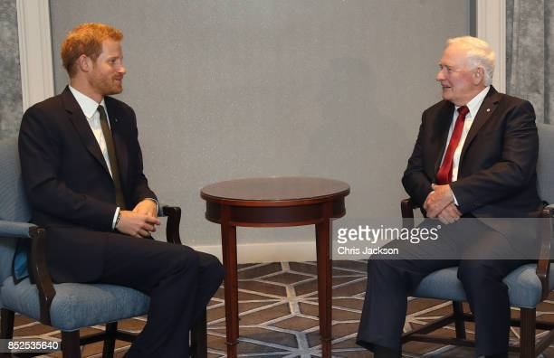 Prince Harry meets with Governor General of Canada David Johnston ahead of the Invictus Games 2017 at the Fairmont Royal York hotel on September 23,...