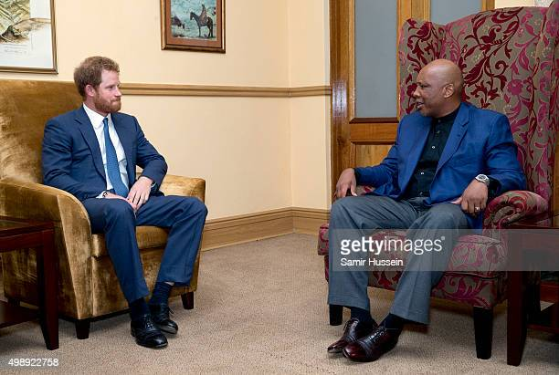 Prince Harry meets with King Letsie III during an official visit to Africa on November 26, 2015 in Maseru, Lesotho.