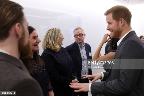 Prince Harry meets with panelists and beneficiaries as he attends the first annual Royal Foundation Forum held at Aviva on February 28 2018 in London...