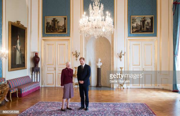 Prince Harry meets with Queen Margrethe II at Amalienborg Palace on October 25 2017 in Copenhagen Denmark