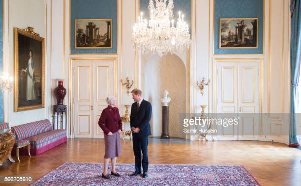 Prince Harry meets with Queen Margrethe II at Amalienborg Palace on October 25, 2017 in Copenhagen, Denmark.