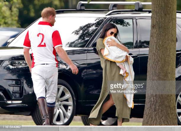 Prince Harry, Meghan, Duchess of Sussex and Archie Harrison Mountbatten-Windsor attend the King Power Royal Charity Polo Match, in which Prince...