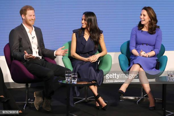 Prince Harry Meghan Markle and Catherine Duchess of Cambridge attend the first annual Royal Foundation Forum held at Aviva on February 28 2018 in...