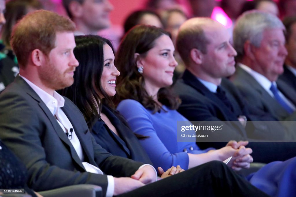 Prince Harry, Meghan Markle, Catherine, Duchess of Cambridge and Prince William, Duke of Cambridge attend the first annual Royal Foundation Forum held at Aviva on February 28, 2018 in London, England. Under the theme 'Making a Difference Together', the event will showcase the programmes run or initiated by The Royal Foundation.