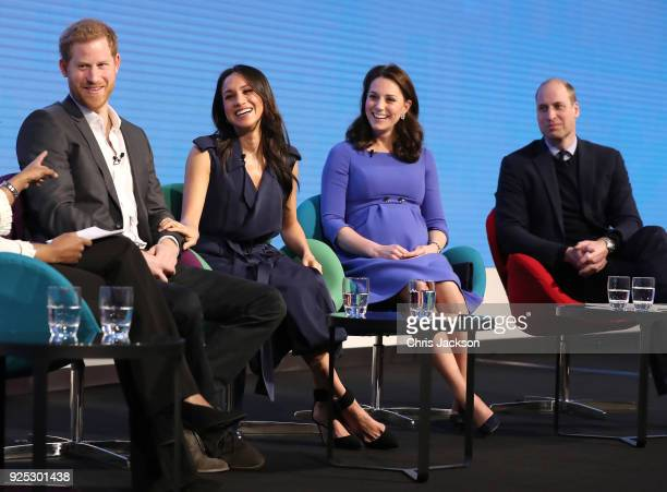 Prince Harry, Meghan Markle, Catherine, Duchess of Cambridge and Prince William, Duke of Cambridge attend the first annual Royal Foundation Forum...