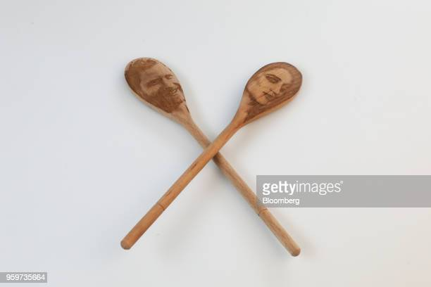 Prince Harry Meghan Markle decorative wooden spoons manufactured by SquirrelPigeonFish sit in this arranged photo in London UK on Friday May 11 2018...
