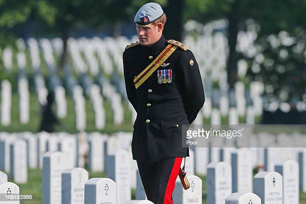 Prince Harry of Great Britain, wearing his British Army ceremonial uniform of the Blues And Royals in his role as Captain Harry Wales, visits Section...