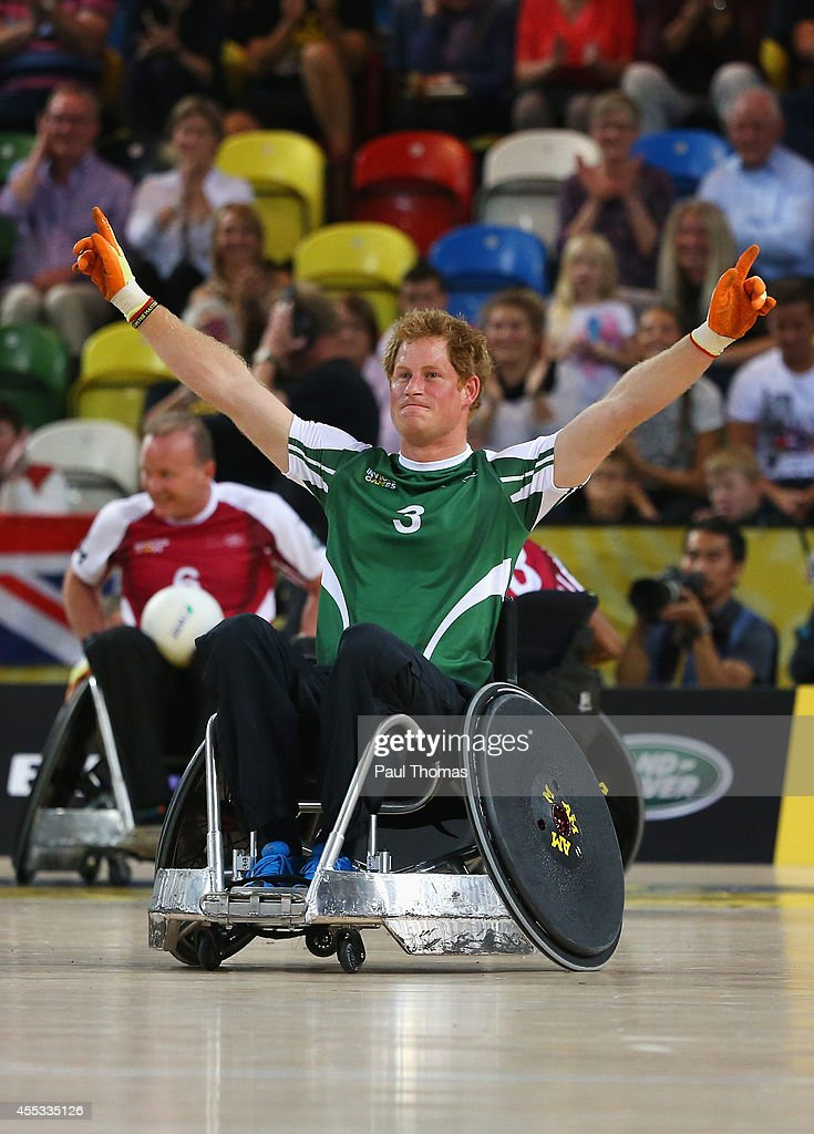 Prince Harry of Invictus celebrates victory during the Jaguar Land Rover Exhibition Wheelchair Rugby Match during day 2 of the Invictus Games, presented by Jaguar Land Rover at the Copper Box Arena on September 12, 2014 in London, England.