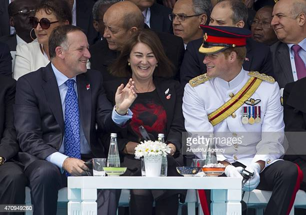 Prince Harry of Wales and New Zealand Prime Minister John Key attend the commemoration ceremony marking the 100th anniversary of the Canakkale Land...