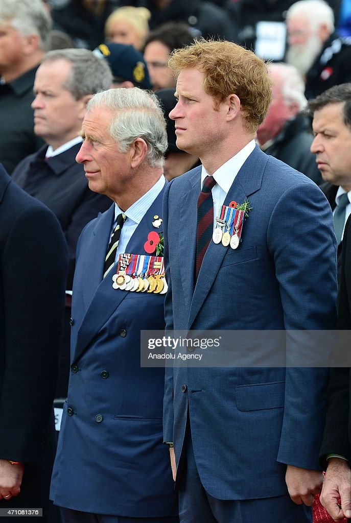 Prince Harry of Wales (R) and Prince Charles of Wales attend a memorial service at the New Zealand National Memorial on the occasion of the 100th anniversary of Canakkale Land Battles on Gallipoli Peninsula in Canakkale, Turkey on April 25, 2015.