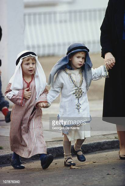 Prince Harry of Wales with another cast member in their costumes for a school nativity play London 6th December 1988