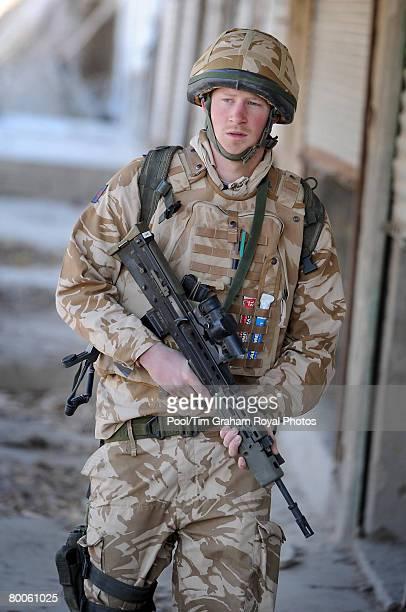 Prince Harry on patrol through the deserted town of Garmisir close to FOB Delhi where he was posted on January 2 2008 in Helmand province Southern...