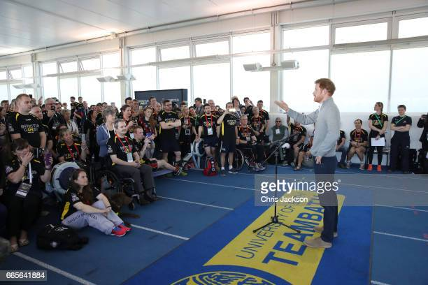 Prince Harry Patron of the Invictus Games Foundation delivers a short speech to all competitors wishing them luck in the selection process for the UK...