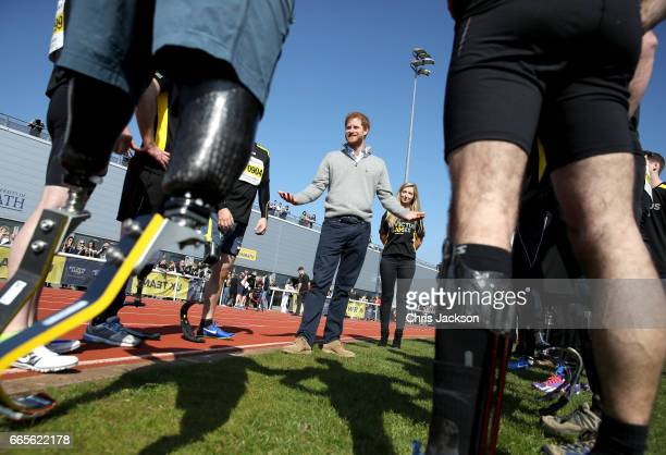 Prince Harry, Patron of the Invictus Games Foundation, speaks to competitors as he attends the UK team trials for the Invictus Games Toronto 2017...