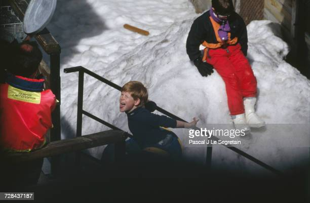 Prince Harry playing during a skiing holiday in Lech, Austria, 25th March 1994.