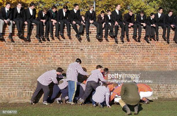 Prince Harry Playing The Traditional Eton Wall Game At His School Eton College In Berkshire A Scrum Watched By Eton Schoolboys In Their Traditional...