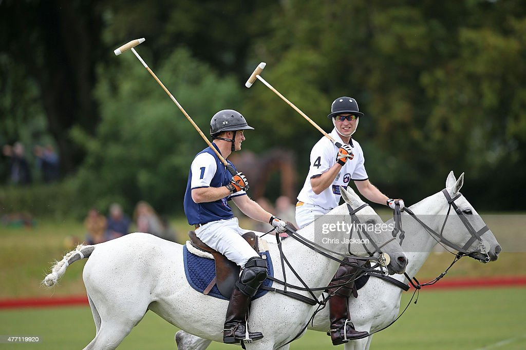 Prince Harry plays for team Royal Salute and Prince William, Duke of Cambridge plays for team Piaget at the Gigaset Charity Polo Match at Beaufort Polo Club on June 14, 2015 in Tetbury, England.