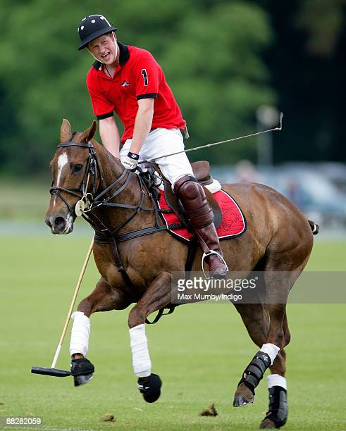 HRH Prince Harry plays in The Dorchester Trophy polo match at Cirencester Park Polo Club on June 7 2009 in Cirencester England