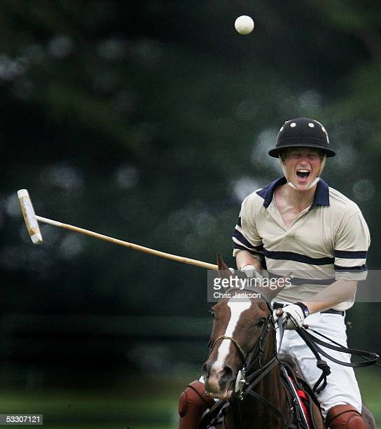 Prince Harry plays polo for HSBS against Virginia State polo at Cirencester Park Polo Club on July 30 2005 in Cirencester England