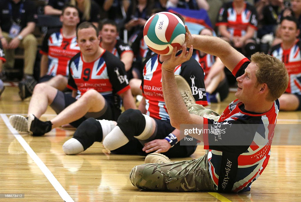 HRH Prince Harry plays sitting volleyball with the UK team at a visit to the Warrior Games Opening at the U.S. Olympic Training Center on May 11, 2013 in Colorado Springs, Colorado. HRH will be undertaking engagements on behalf of charities with which the Prince is closely associated on behalf also of HM Government, with a central theme of supporting injured service personnel from the UK and US forces.