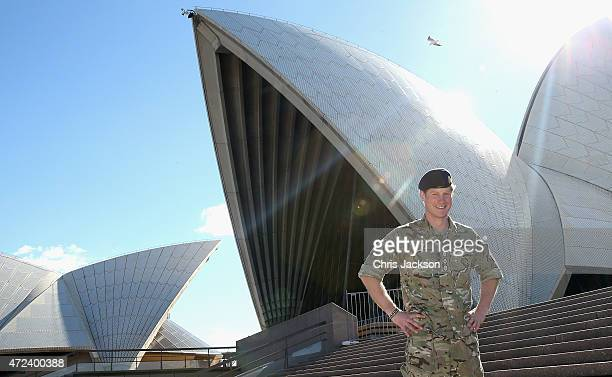 Prince Harry poses during a walkabout outside the Sydney Opera House on May 7 2015 in Sydney Australia Prince Harry is visiting Sydney following a...