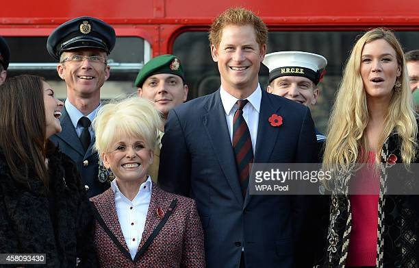 Prince Harry poses for a photo with supporters of the Royal British Legion's London Poppy Day appeal with Joss Stone , Barbara Windsor and Lacey...