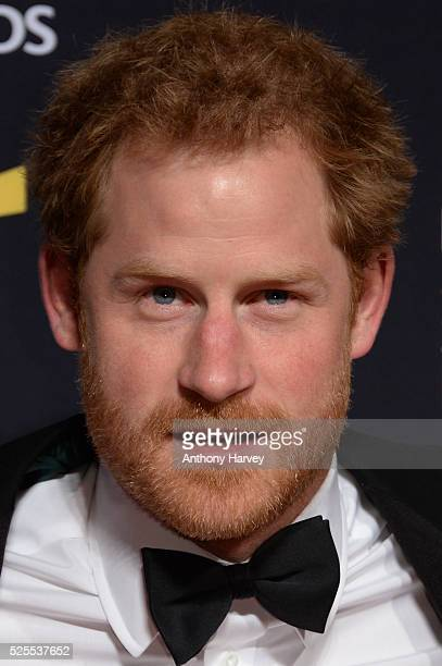 Prince Harry poses on the red carpet at the BT Sport Industry Awards 2016 at Battersea Evolution on April 28 2016 in London England The BT Sport...