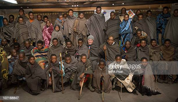 Prince Harry poses with a group of Herd Boys on June 16 2010 in Semongkong in Lesotho The two Princes are on a joint trip to Africa which takes in...