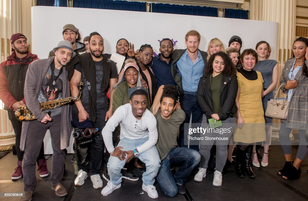 Prince Harry Poses with Full Effect Members after watching their performance during an official visit to Full Effect & Coach Core on February 1, 2017 in Nottingham, England. Full Effect and Coach Core are projects supported by The Royal Foundation to improve opportunities for young people.