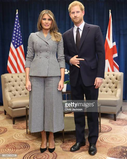 Prince Harry poses with US first lady Melania Trump for the first time as she leads the USA team delegation ahead of the Invictus Games 2017 on...