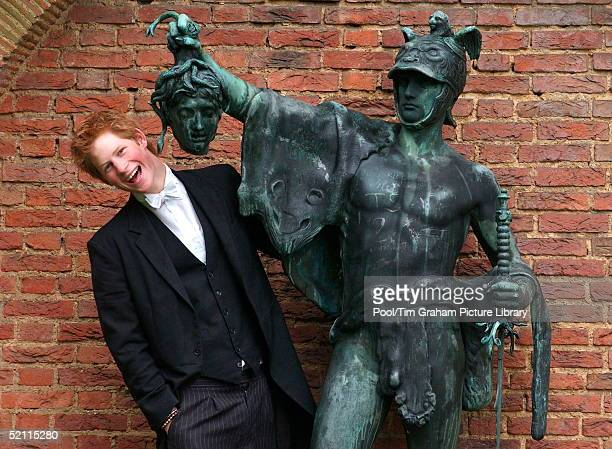 Prince Harry Posing Next To A Bronze Statue Of Perseus Holding The Gorgon's Head The Statue Stands In The King Of Siam's Garden Presented To The...