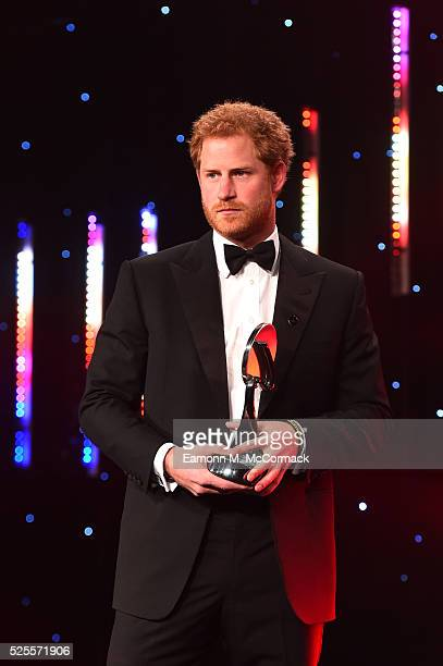 Prince Harry presents Outstanding Contribution to Sport Award to Judy Murray and son Jamie at the BT Sport Industry Awards 2016 at Battersea...