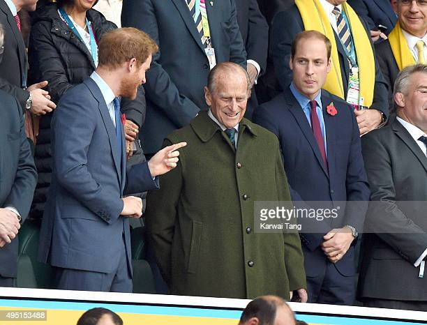 Prince Harry Prince Philip Duke of Edinburgh and Prince William Duke of Cambridge attend the Rugby World Cup Final match between New Zealand and...