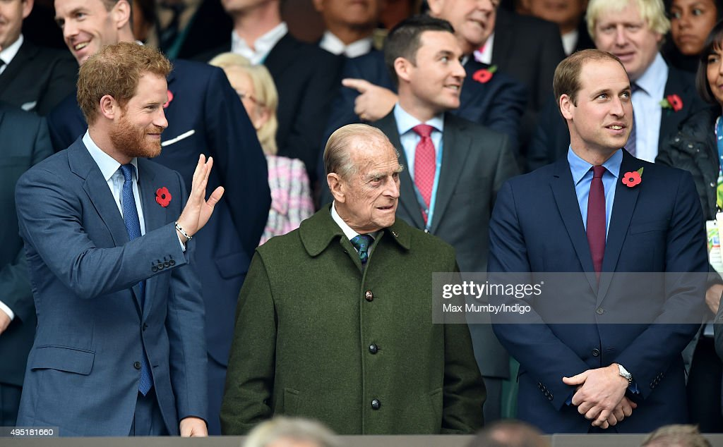 Prince Harry, Prince Philip, Duke of Edinburgh and Prince William, Duke of Cambridge attend the 2015 Rugby World Cup Final match between New Zealand and Australia at Twickenham Stadium on October 31, 2015 in London, England.