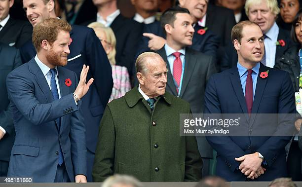 Prince Harry Prince Philip Duke of Edinburgh and Prince William Duke of Cambridge attend the 2015 Rugby World Cup Final match between New Zealand and...