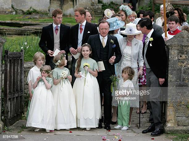 Prince Harry Prince William and Andrew Parker Bowles leave the wedding of Laura Parker Bowles to Harry Lopes at St Cyriac's Church Lacock on May 6...