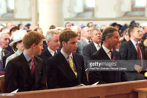 Prince Harry Prince William And Prince Charles At St Mary's Church Attending A Special Service To Commemorate The Golden Jubilee Of Her Majesty The...
