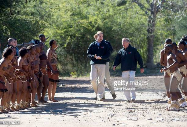 Prince Harry Prince William and Tusk CEO Charlie Mayhew meet traditional dancers as they arrive at Mokolodi Education Centre on June 15 2010 in...